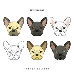 Set goals sketch french bulldog different color vector image