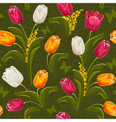 Tulip seamless vector image vector image