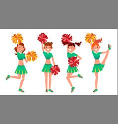 cheerleader girls in action sport fan vector image