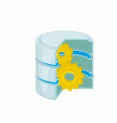 Database with gears icon cartoon style vector image