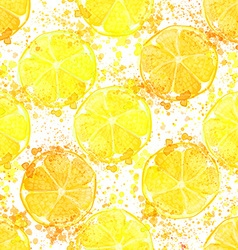 Hand drawn watercolor seamless pattern of lemon vector image