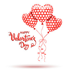 Happy Valentines Day Red balloons and hand drawn vector image vector image
