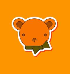 Paper sticker on stylish background kids toy bear vector