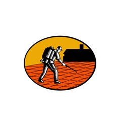 Paver Sealer Contractor House Oval Woodcut vector image vector image