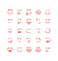 red thin line emoji icons vector image