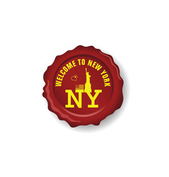 seal wax with symbol of new york on it vector image