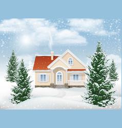 winter landscape residential building vector image