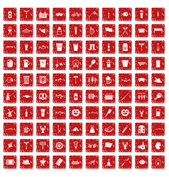 100 beer icons set grunge red vector