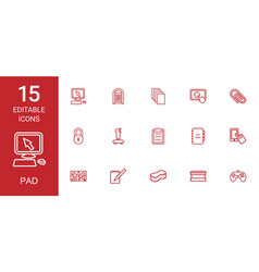 15 pad icons vector image