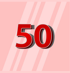 50 years anniversary red elegant number template vector