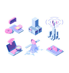 5g isometric telecommunication industrial vector image