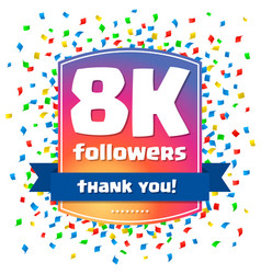 8000 followers thank you design card vector