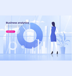 a business woman analysing vector image