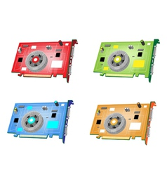 A Colorful Set of Video Card vector