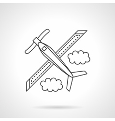Airplane with propeller flat line icon vector image