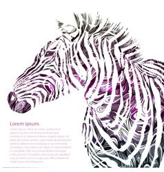 Animal watercolor silhouette zebra vector image
