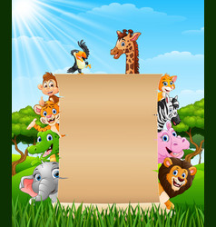 animals with a blank sign paper vector image