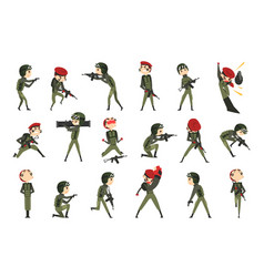 army soldiers in action set man character vector image