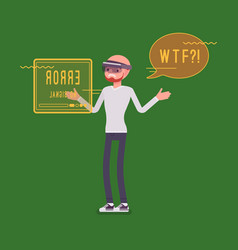 augmented reality man having negative experience vector image