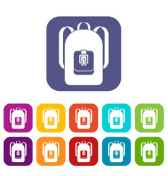 Backpack icons set vector