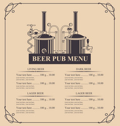 Beer pub menu with a price list in retro style vector