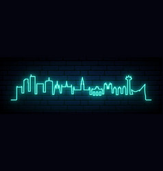 blue neon skyline brussels city bright vector image