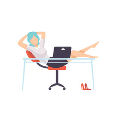 Businesswoman resting at computer in office young vector