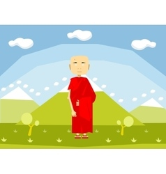 Calm buddhist monk vector image