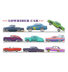 car vintage low rider auto and retro old vector image