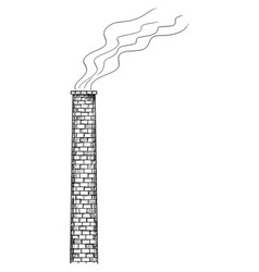Cartoon old factory smokestack or chimney vector