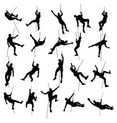 Climber set silhouette 2 vector