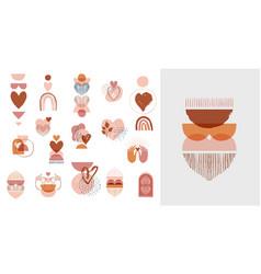 Collection boho valentines day symbols vector