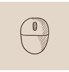 Computer mouse sketch icon vector image