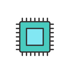 cpu microprocessor computer chip flat vector image