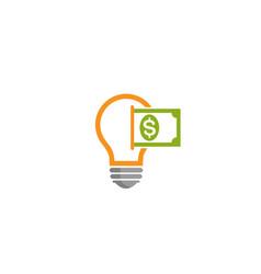 creative abstract bulb money dollar logo design vector image