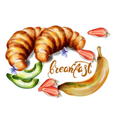 croissant and fruits watercolor breakfast vector image
