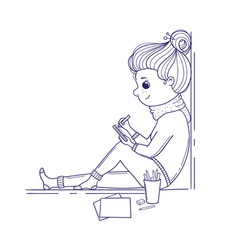 cute girl for coloring book cute doodle girl sits vector image