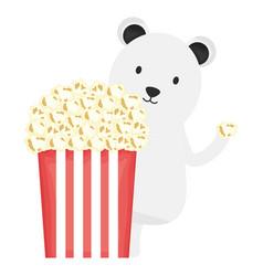 cute polar bear with popconr childish character vector image
