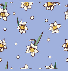 daffodils narcissus dense seamless pattern vector image