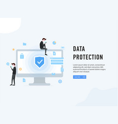 data protection web page poster vector image