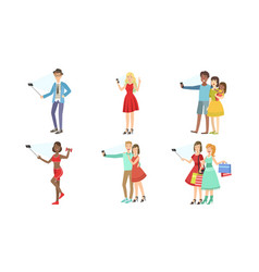 different people take selfies set vector image