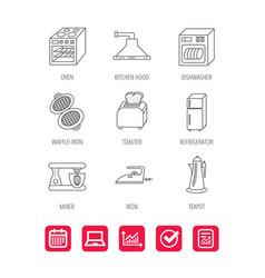 Dishwasher refrigerator and blender icons vector