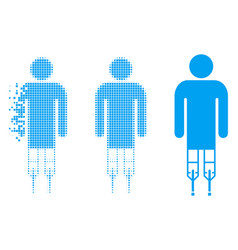 Dissolved pixelated halftone man crutches icon vector