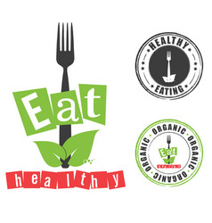 eat healthy with grunge rubber organic vector image