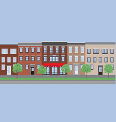 empty street with old houses vector image