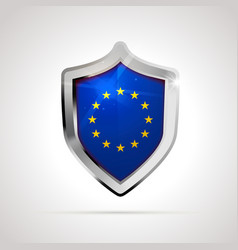 european union flag projected as a glossy shield vector image