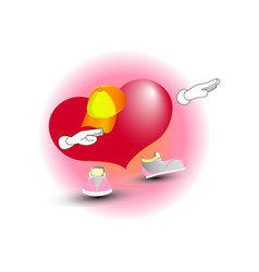 fashionable heart in a cap and sneakers vector image