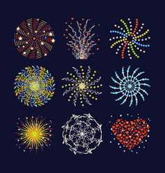 Firework different shapes colorful festive heart vector