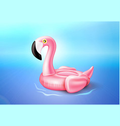 Flamingo inflatable pool ring on sea water vector