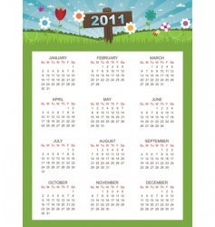 floral calender for 2011 vector image